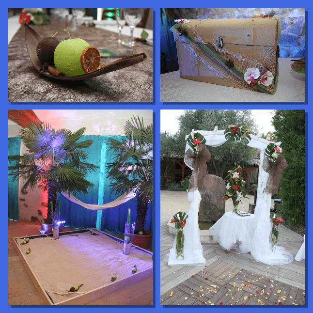 Cérémonie laïque exotique conception de la décoration de l'urne, du livre d'or, coin îles avec sables et palmiers.