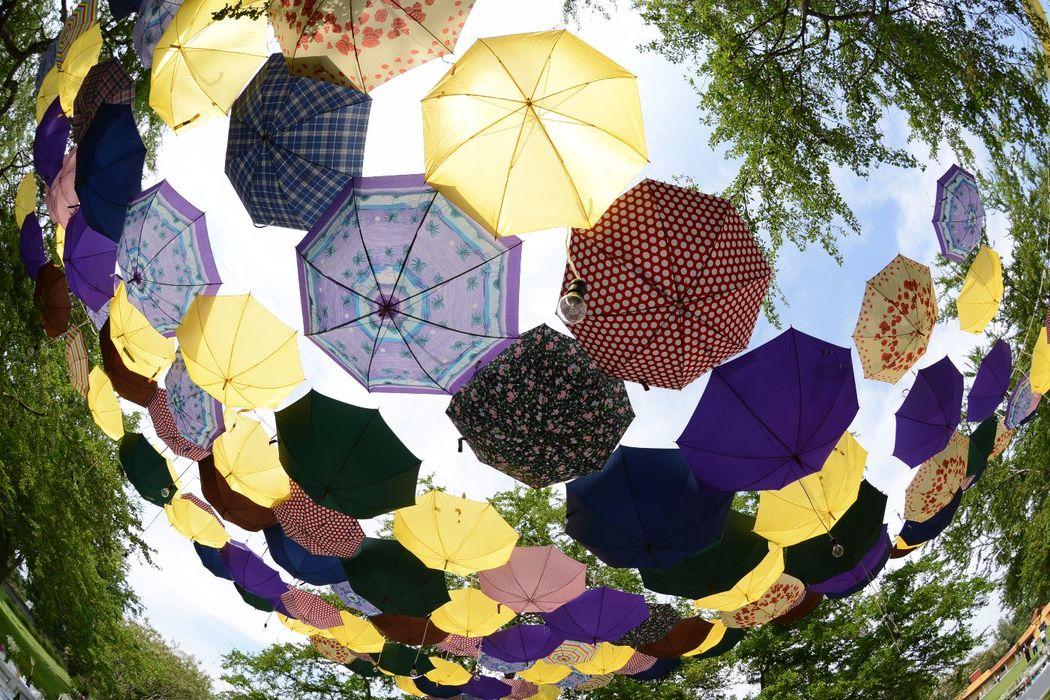 Wedding Experience  +300 sombrillas para decorar el cielo de una boda Campirana.