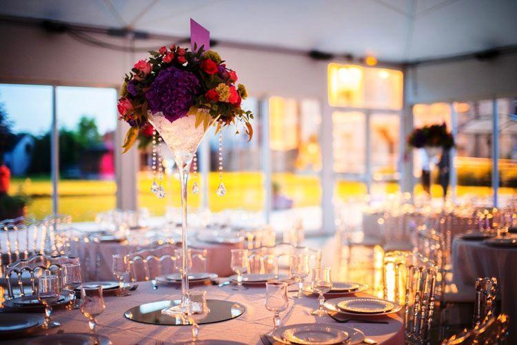 vase martini avec décoration pampilles suspendues