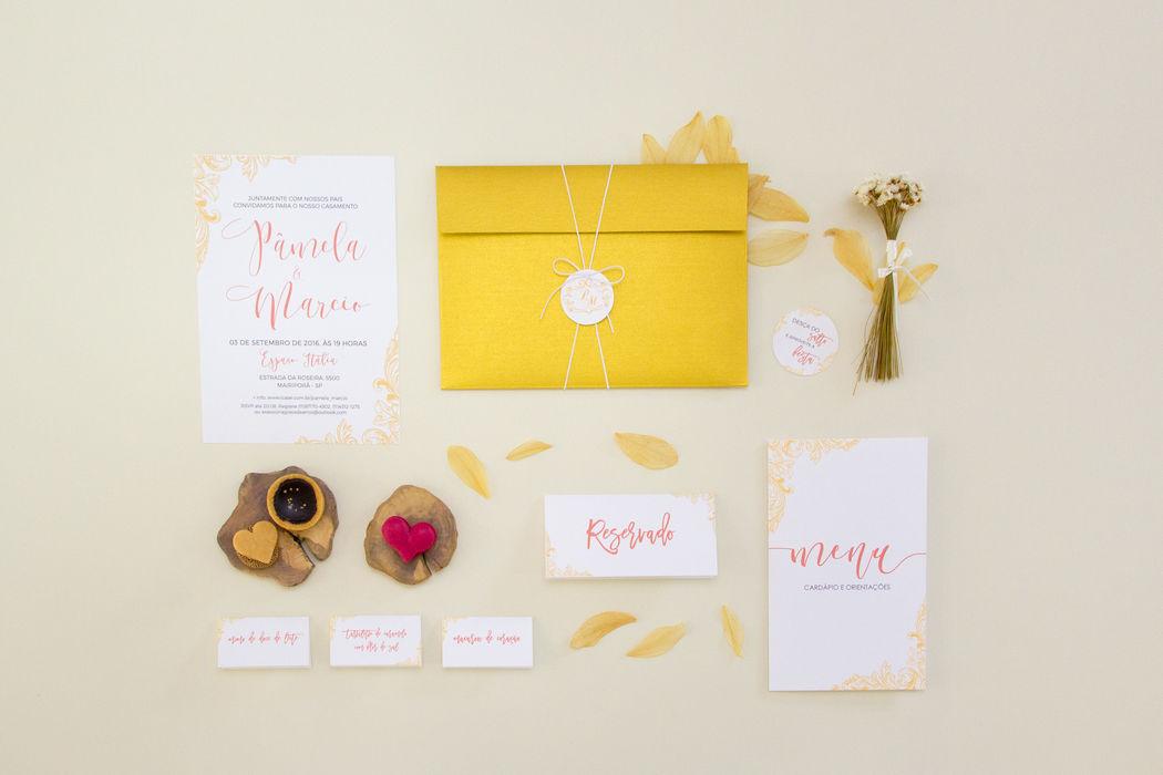Convite Goiaba e Dourado - Pamela e Márcio