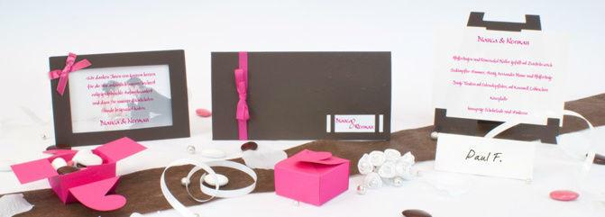 Beispiel: Hochzeitsset Chocolate-Pink, Foto: Sweet Wedding Hochzeitskarten.
