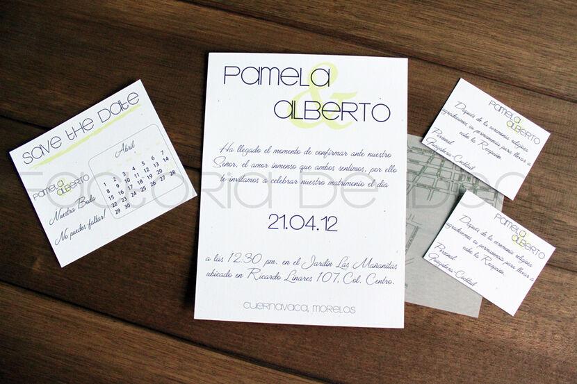 Invitación fresca en papel tipo reciclado con Save the Date