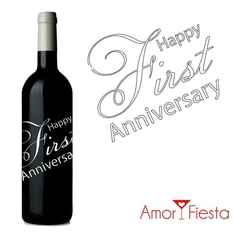 Botellas de vino con gráficos personalizados para aniversarios