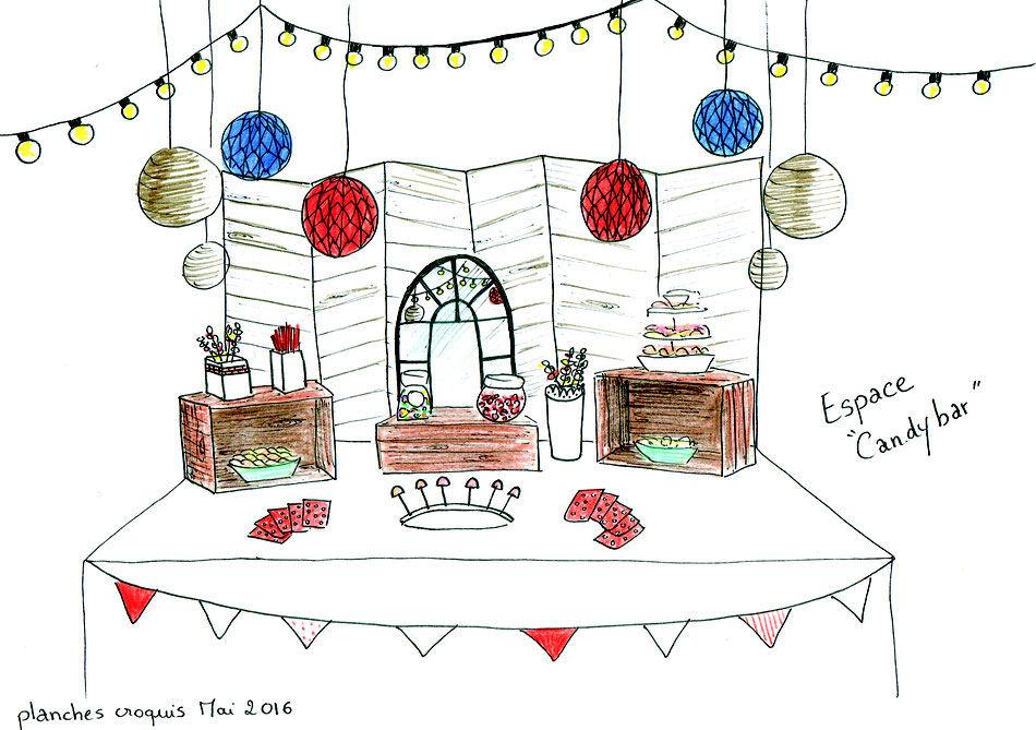 La première étape de mon travail consiste à imaginer la décoration du lieu de réception. Pour cela, je réalise une série de dessins en couleurs ou au crayon. Ce travail de scénographie se fait à partir des idées et des envies de mes clients. Une fois les dessins achevés, les futurs mariés pourront se projeter et imaginer leur Mariage.