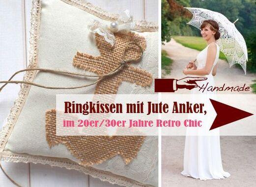 handgefertigte Vintage Ringkissen im Retro Anker Look  - LoveLi Hochzeitsplanung Onlineshop