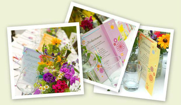 Beispiel: Hochzeitsmenükarte, Foto: Designbureau Simone Metelko-Kager.