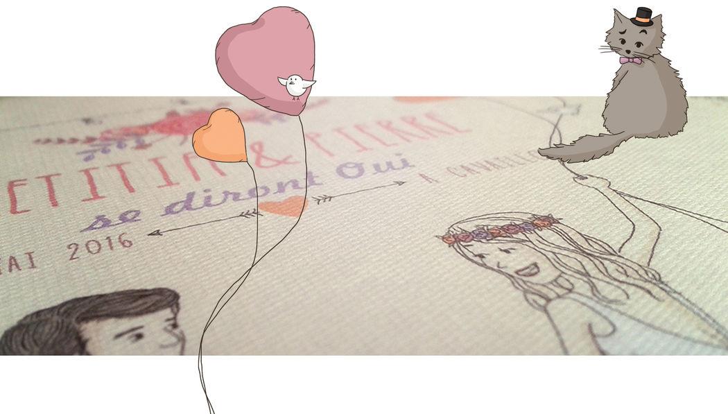 Illustration faire-part de mariage personnalisé - Marina Gri