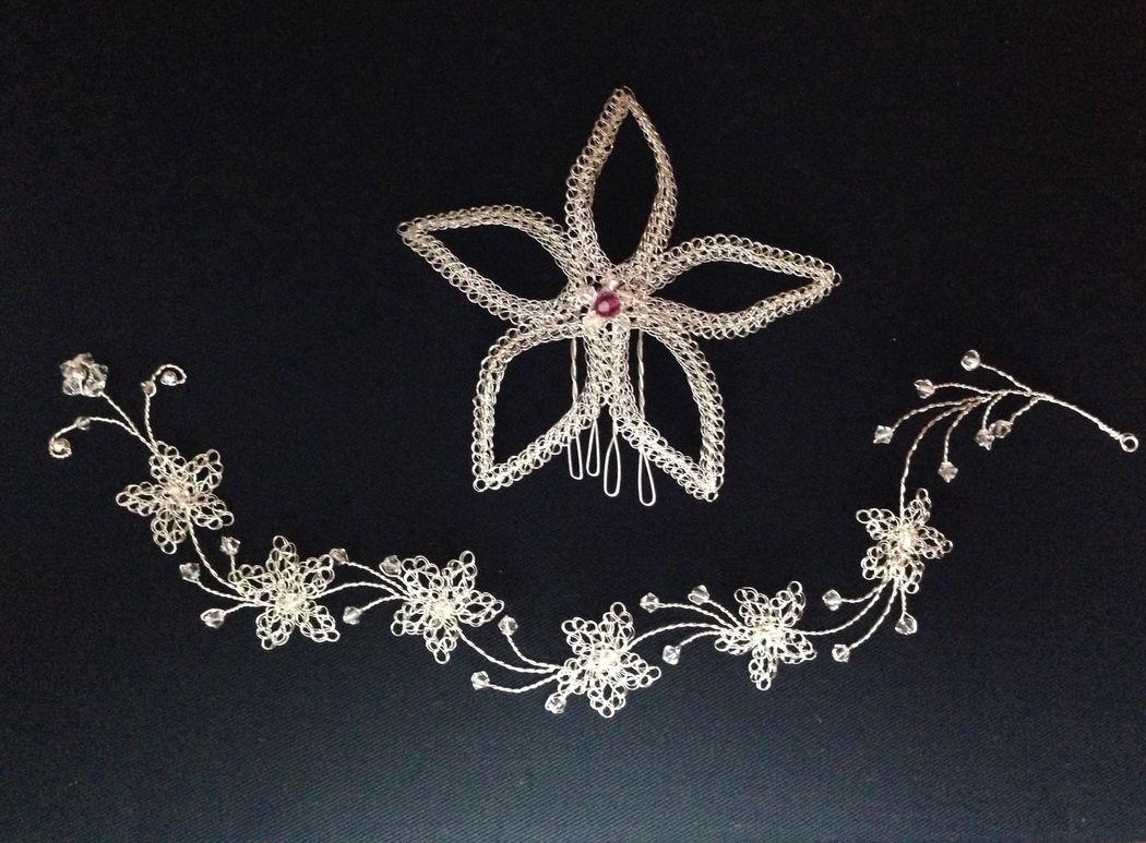 Tiara, aretes y pulsera de hilo  plata y cristales swarosky.