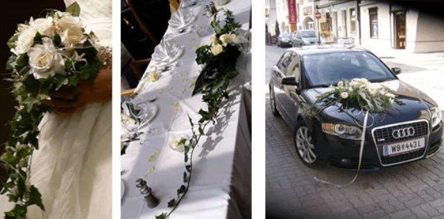 Beispiel: Hochzeit in weiß, Foto: Hadrigan Blumen Ambiente.