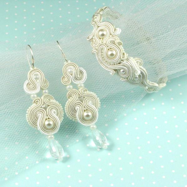 Małgorzata Sowa - PiLLow Design, Biżuteria ślubna sutasz. Komplet ślubny - perły Swarovski, kryształ górski, kryształy Swarovski, srebro