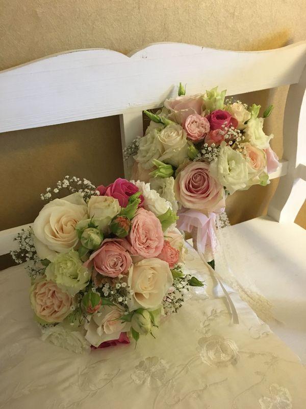 Brautstauss: rose/abricot