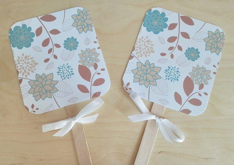 Paypays (abanicos) Motivo: Flores Color: Aquamarina