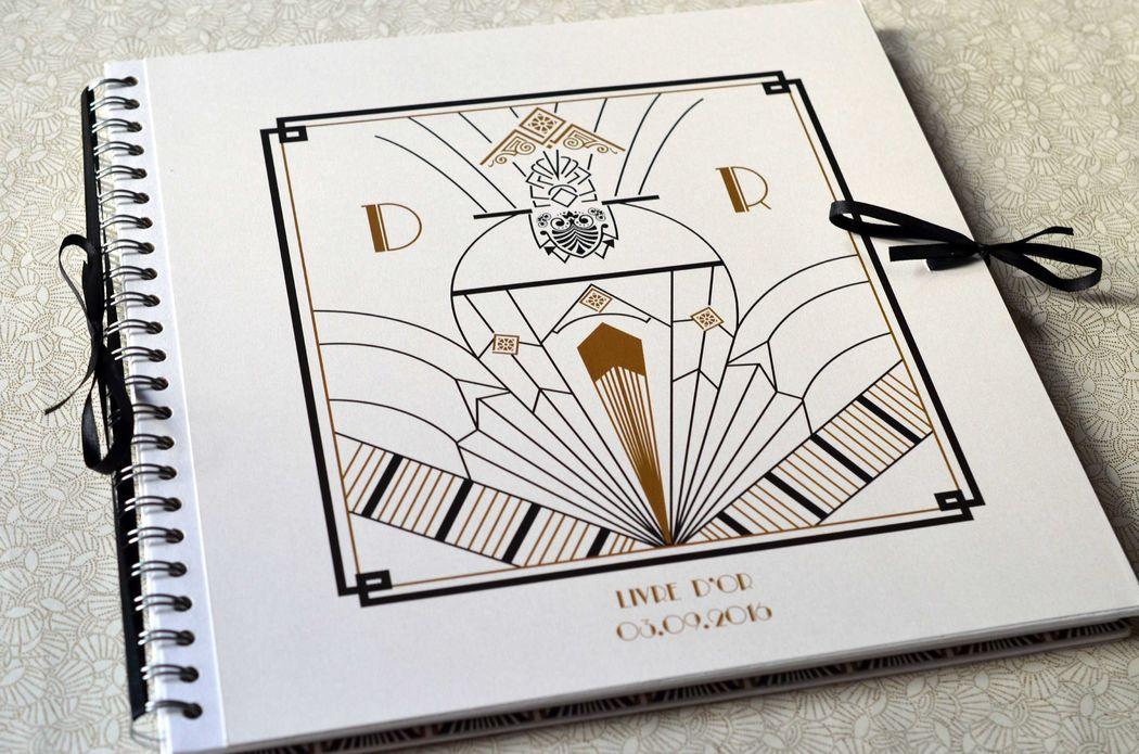 Livre d'or Mariage Art Deco L'Atelier d'Elsa Le Véritable Faire-part Sur Mesure