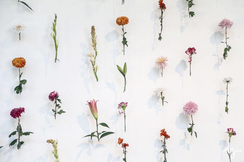 Cortina de flores para boda en museo Franz Mayer