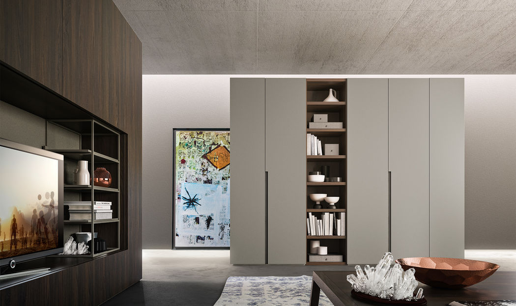 Go is an Alf DaFrè cabinet designed to be customized and configured into any environment to organize spaces favoring the most diverse functional requirements. Its flexibility makes it suitable for any room in the house, from the bedroom to the living room.