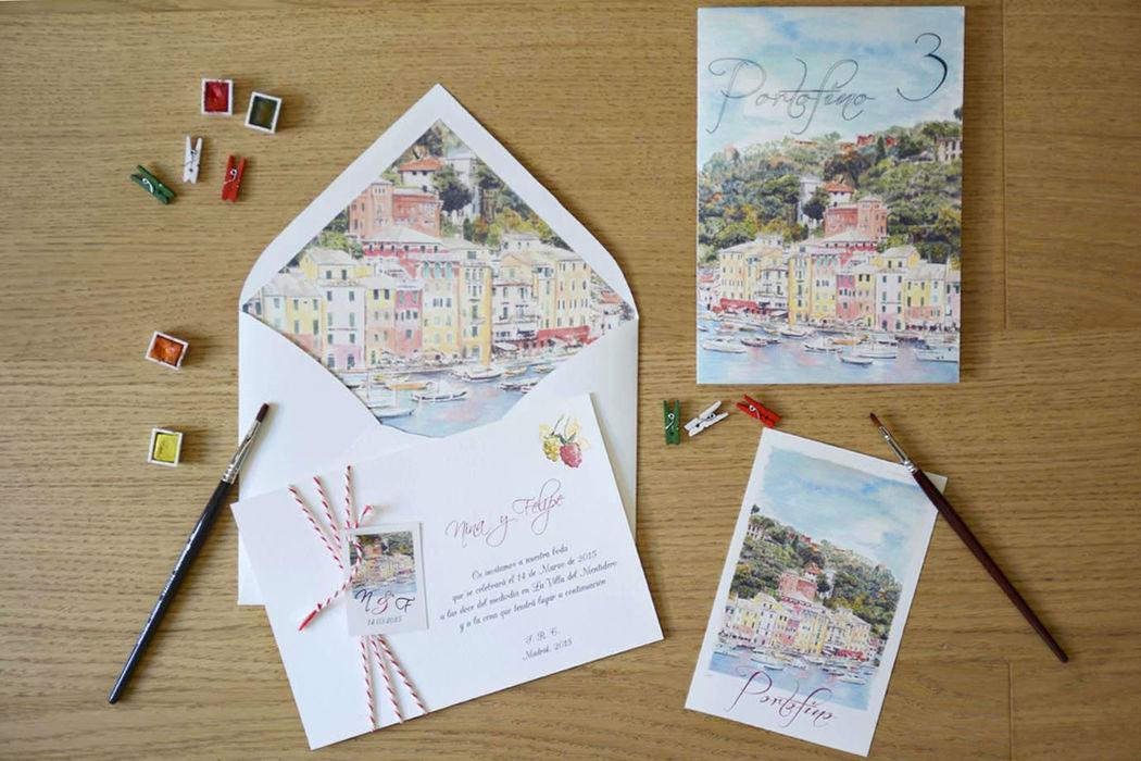 Conjunto de invitaciones con acuarela de Portofino.