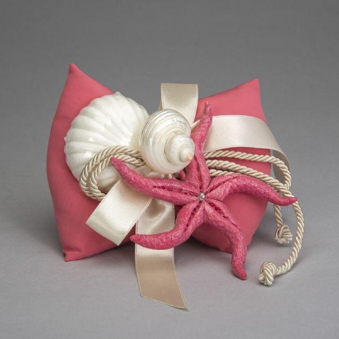 Stella marina color corallo in ceramica di Capodimonte con cuscino e sapone