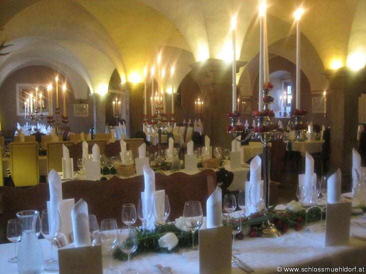 Beispiel: Hochzeitsrestaurant, Foto: Schloss Mühldorf.