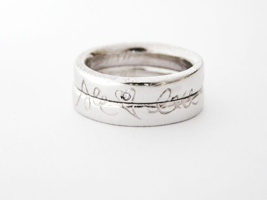 MIOeTUO - anelli in oro bianco e diamante