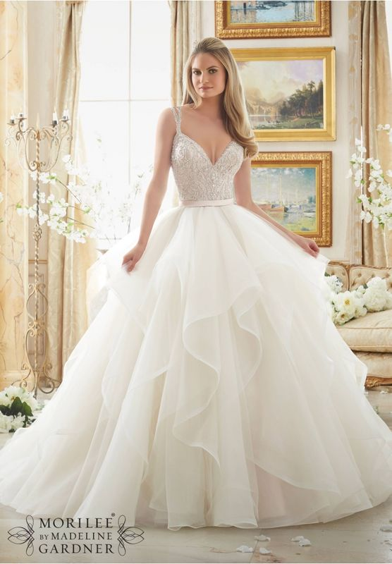 Wedding Dress OLXE  Dazzling Beaded Bodice on Flounced Tulle and Organza Ball Gown  Colors Available: White/Silver, Ivory/Silver, Blush/Silver