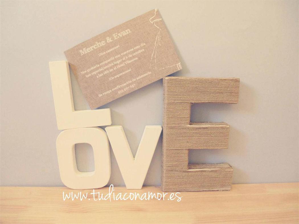 Invitación de boda lino, sencilla y económica