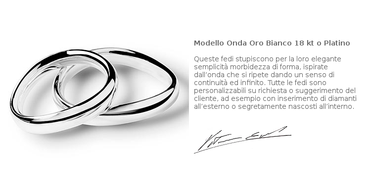 Fedi Matrimoniali Efrem Guidi Oro bianco al Palladio Wedding Italy Milano Brera Modello Onda