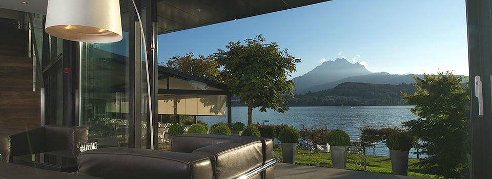Beispiel: Terrasse, Foto: Seehotel Hermitage.