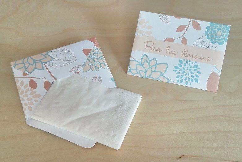 Sobres para Pañuelos Motivo: Flores Color: Aquamarina
