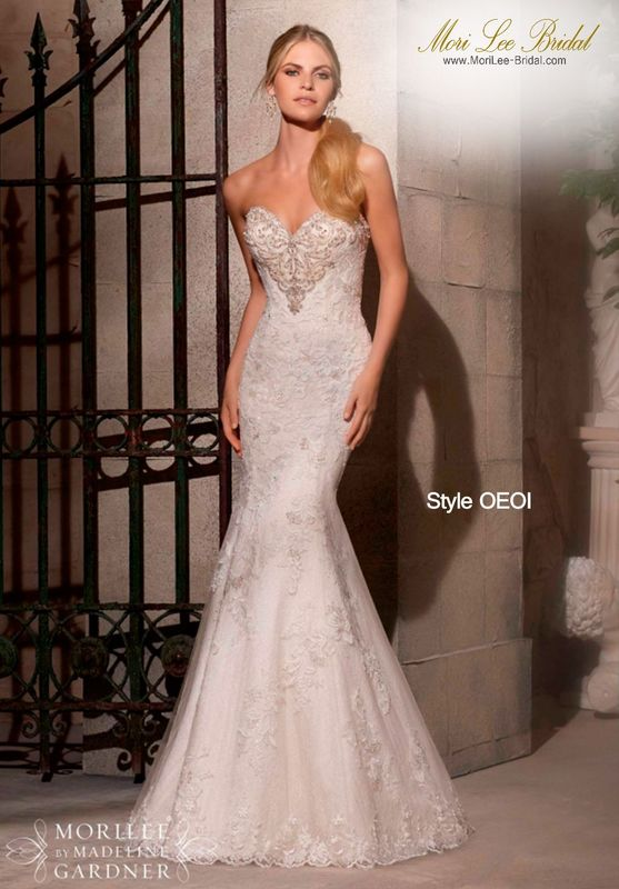 Dress Style OEOI Elegantly Patterned Embroidery And Beading On Net Over Chantilly Lace- Available In Three Lengths: 55 Inches, 58 Inches, 61 Inches  Available in White/Silver, Ivory/Silver, Cafe/Silver