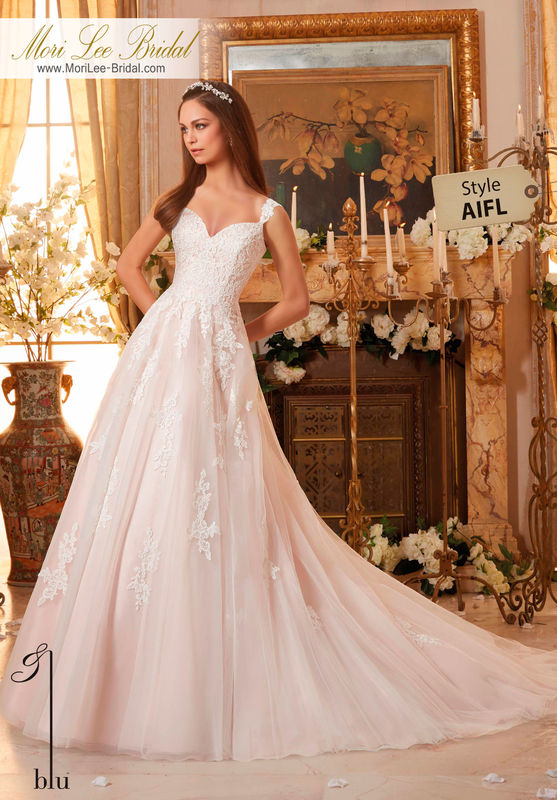 Dress Style AIFL  EMBROIDERED LACE APPLIQUES ON SOFT TULLE  Colors Available: White, Ivory, Ivory/Blush