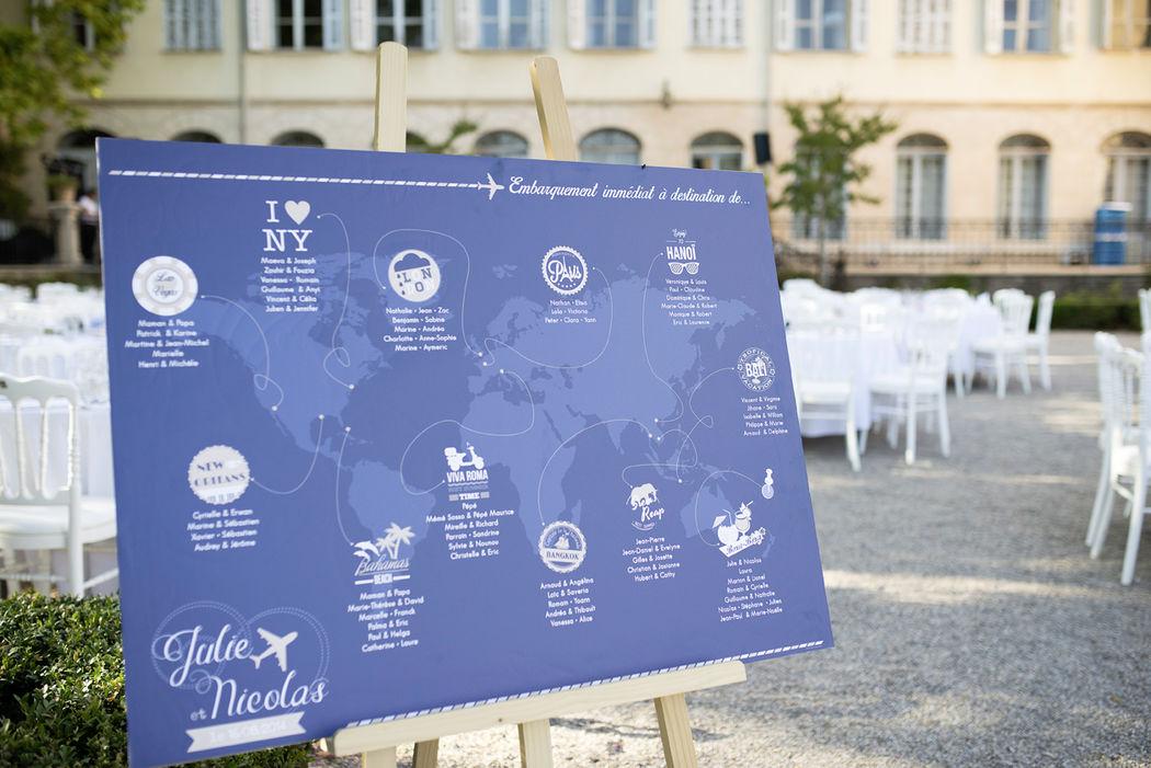Plan de table Thème voyage Mademoiselle Créa