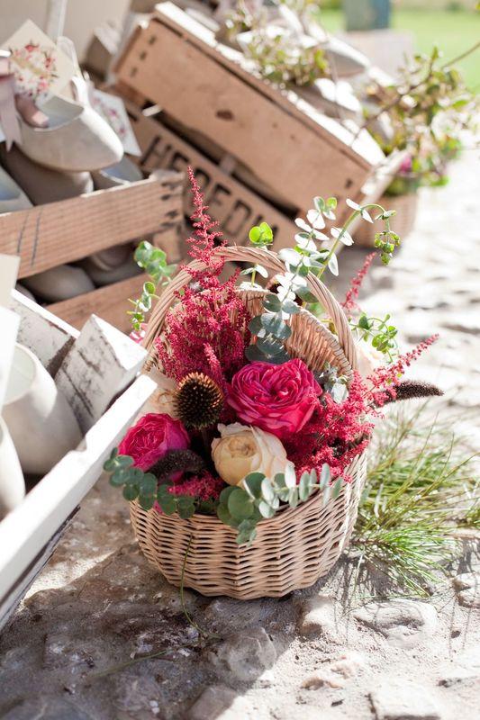 Cesta floral de la Boda de Ana y Hugo.
