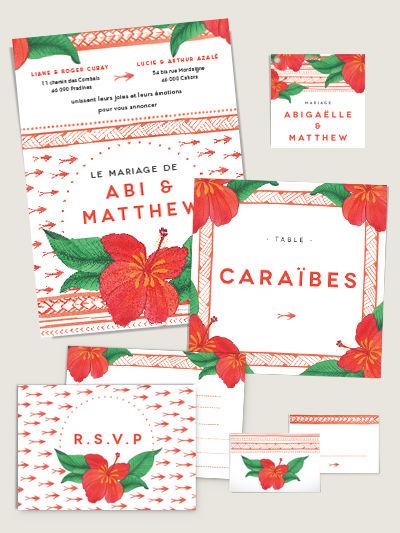 Faire-part de mariage et décorations de table assorties Hibiscus