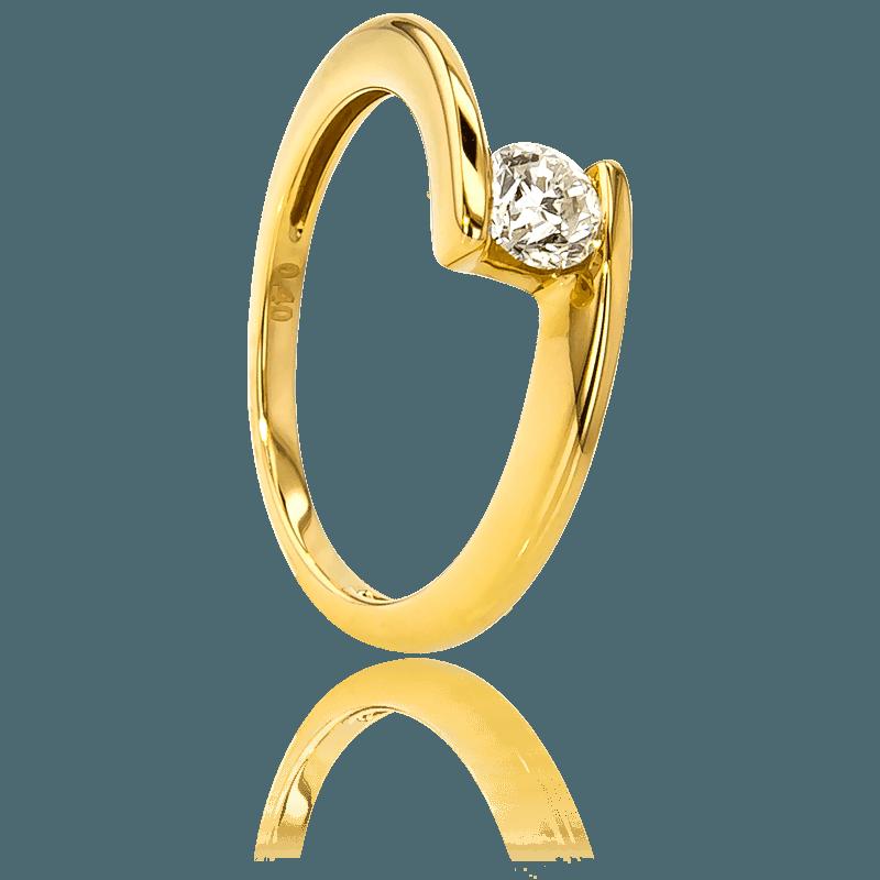 Anillo de compromiso de oro amarillo 18k y diamante