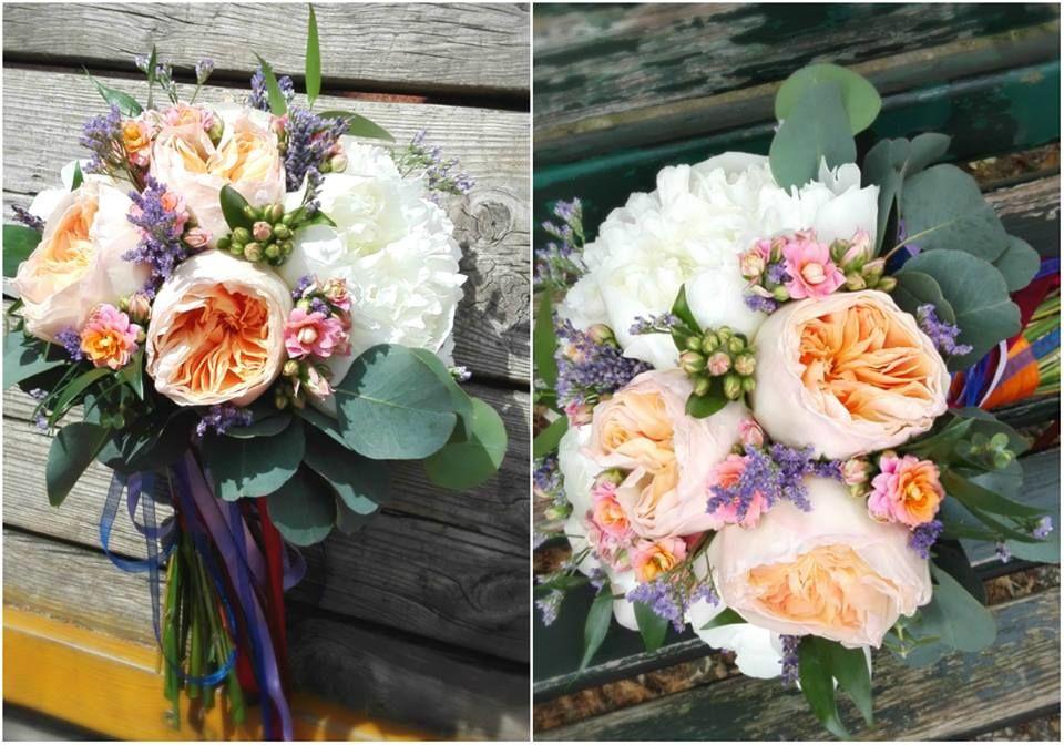Bouquet de Noiva Garden Roses e Peoneas