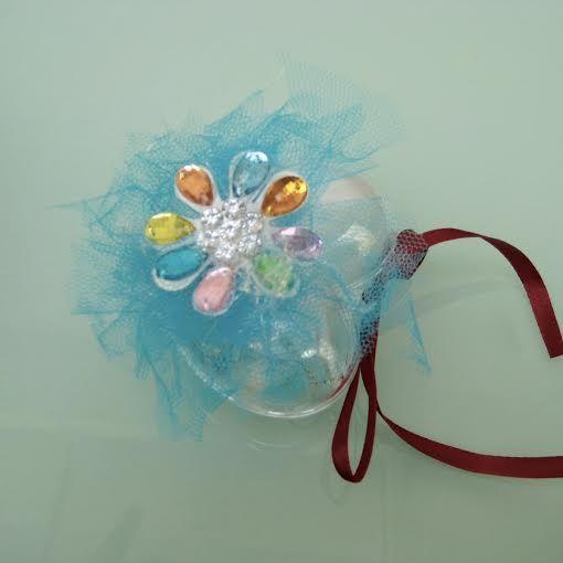 Rassa Dragées Boite coeur spécial alimentaire à remplir de  Dragées , décor turquoise fleur en strass