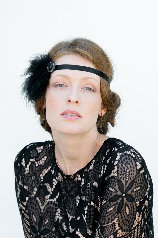 20er Jahre Kopfschmuck in Schwarz - Federn Haarschmuck Gatsby Style für Gala Abende, Hochzeiten, Partys, Oper, Events!