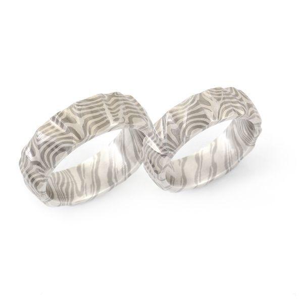 Eheringe Mokume Gane in Silber und Palladium