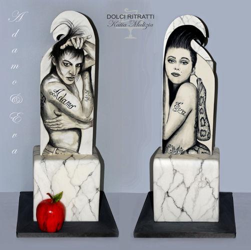 Adamo & Eva Opera realizzata per la Biennale Sugar Art di Torino Ritratto di Richard Avedon fotografo statunitense del bianco e nero  e Eva rappresentata dall'attrice Nastassja Kinski. I ritratti sono dipinti su due lastre posizionate su un monolito dipinto in finto marmo.