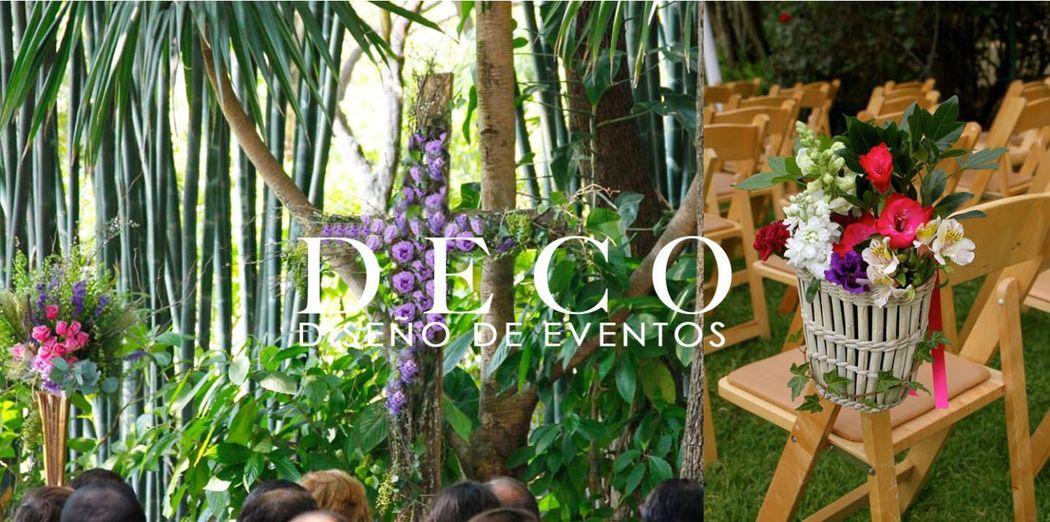 Diseño floral ceremonia religiosa en Jardin Huayacan, por DECO diseño de eventos.