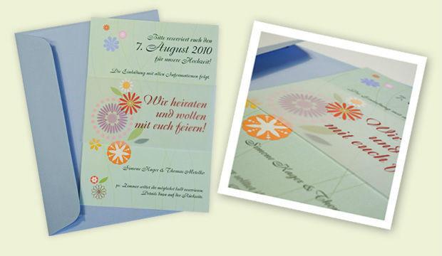 Beispiel: Hochzeitseinladungskarte, Foto: Designbureau Simone Metelko-Kager.