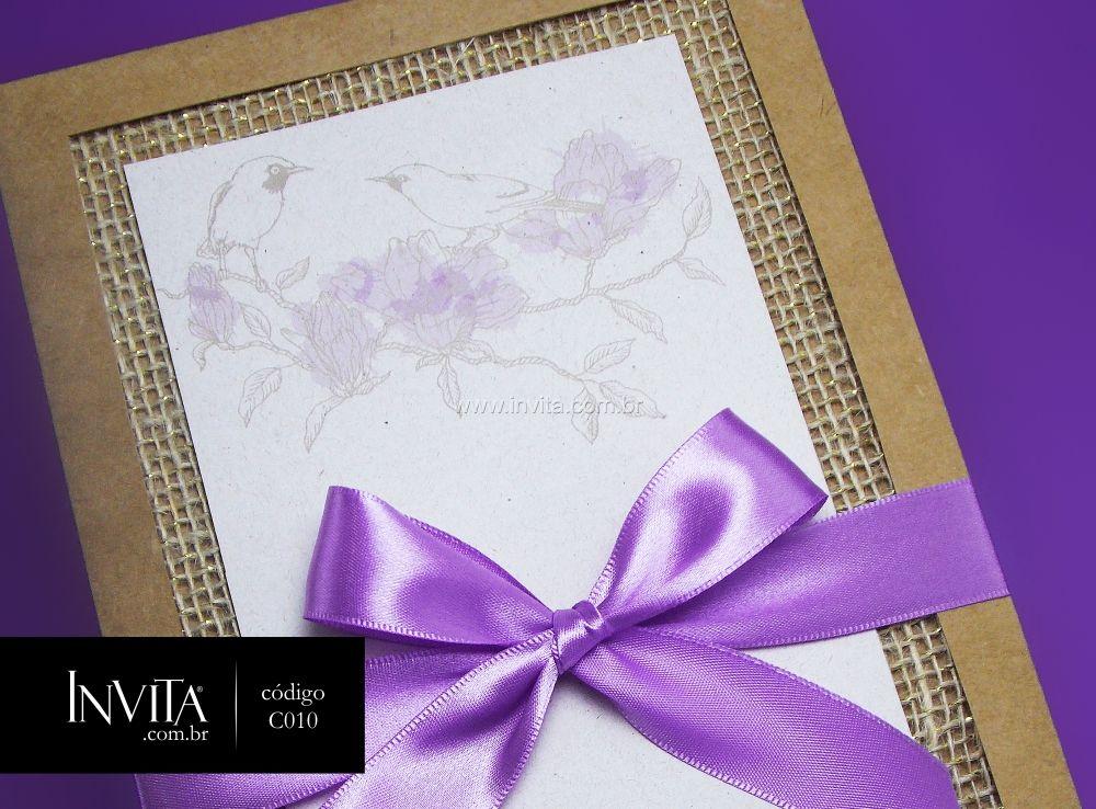Convite de Casamento Lilás com Juta - Cód.: C010