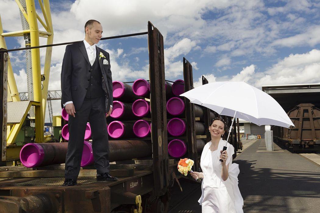 Hochzeitsfoto im Hafen Düsseldorf