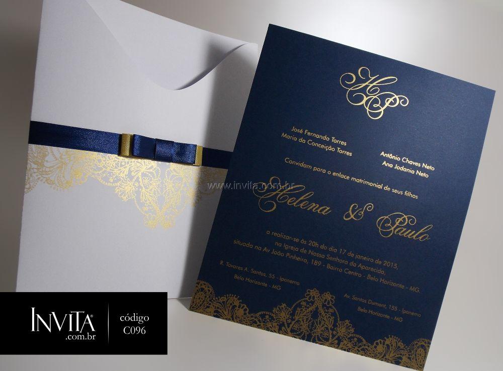 Convite Azul e Dourado - Cód.: C096