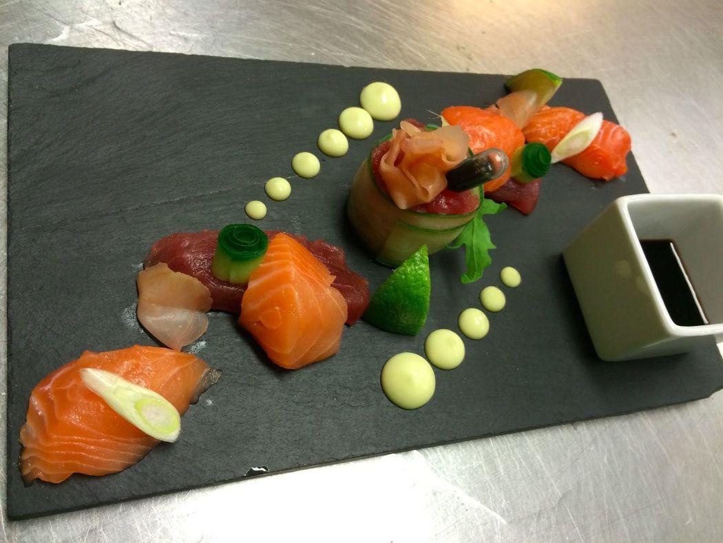 Sashimi zalm & tonijn - proefkoken voor bruidspaart