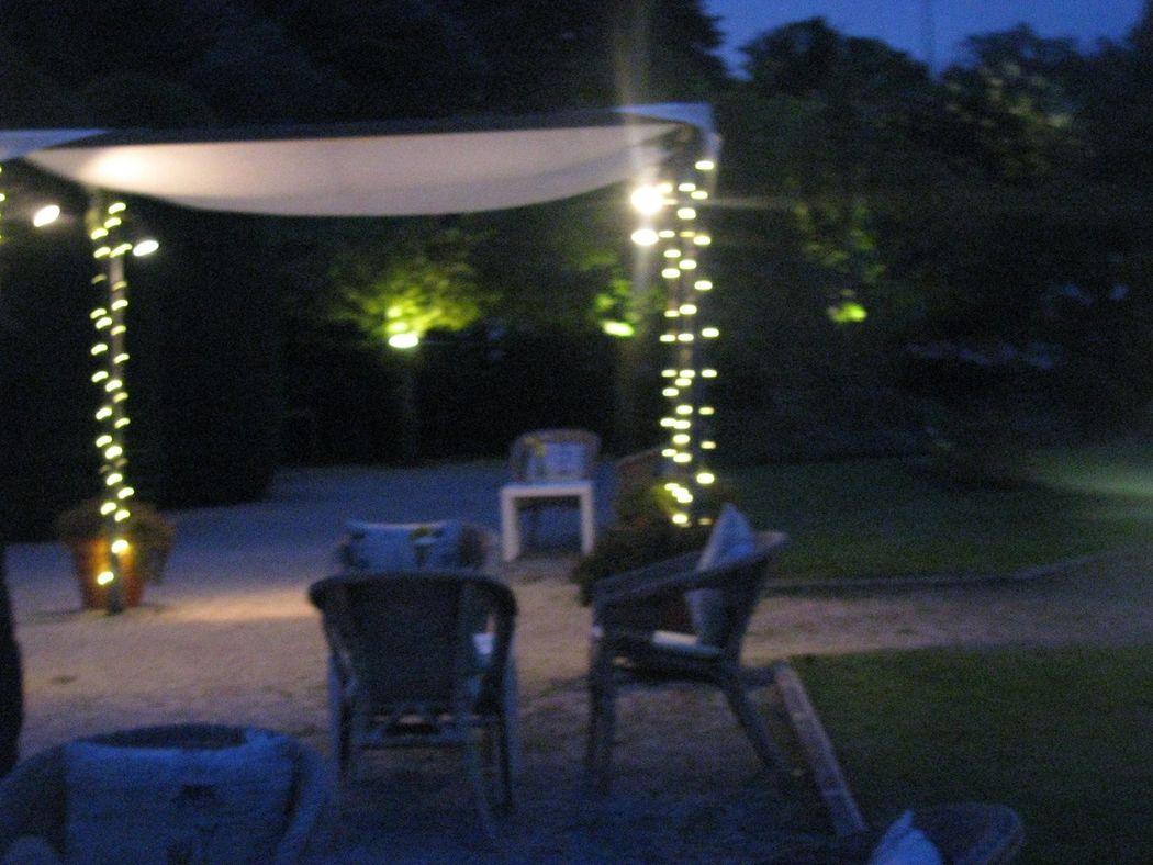 Pérgola com Luzes no Jardim