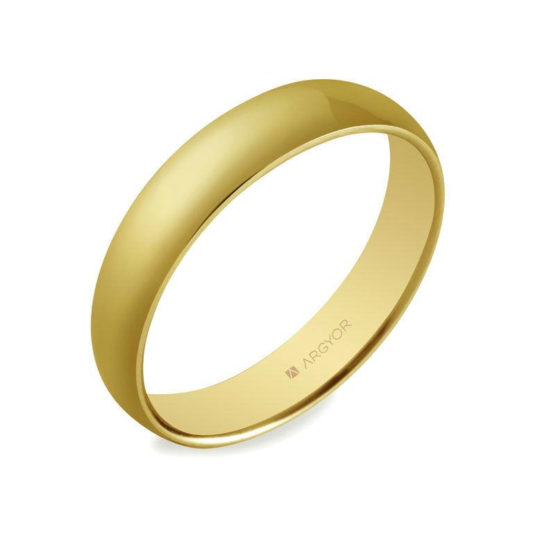 Alianza de boda de media caña en oro 18k