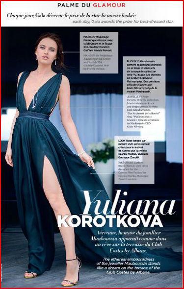 Cannes 2014: la nouvelle muse de la maison Mauboussin, Yulianna Korotkova, élue palme du glamour, drapée dans une robe signée Koshka Mashka.