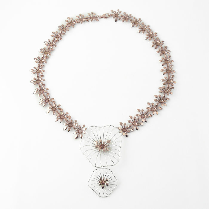 Gargantilla Dana·XL en plata de ley y bronce bañado en oro rosa