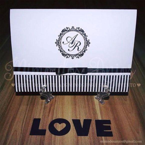 Convite Romantic ♥ Branco e preto.